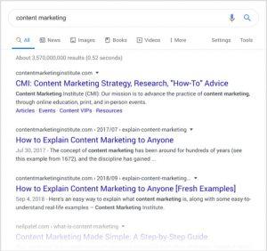 Tìm kiếm từ khóa Content Marketing trên công cụ Google