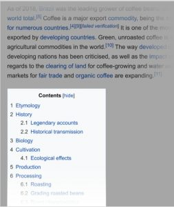 Phân tích từ khóa coffee trên Wikipedia
