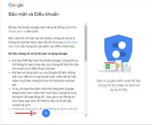 Hình Gmail bảo mật và điều khoản