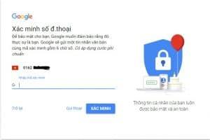 Quá trình xác nhận khi tạo gmail trong Google Ads