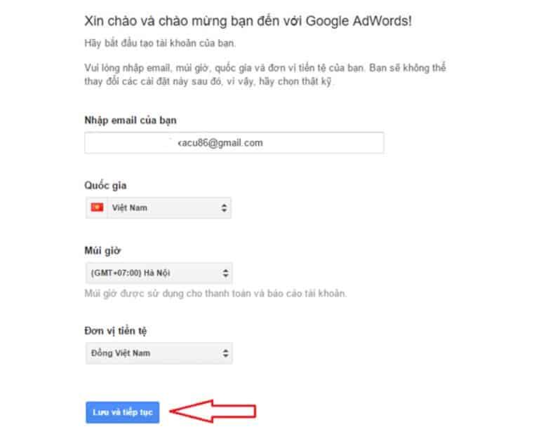 Khai báo thông tin trong quá trình tạo tài khoản Google Ads
