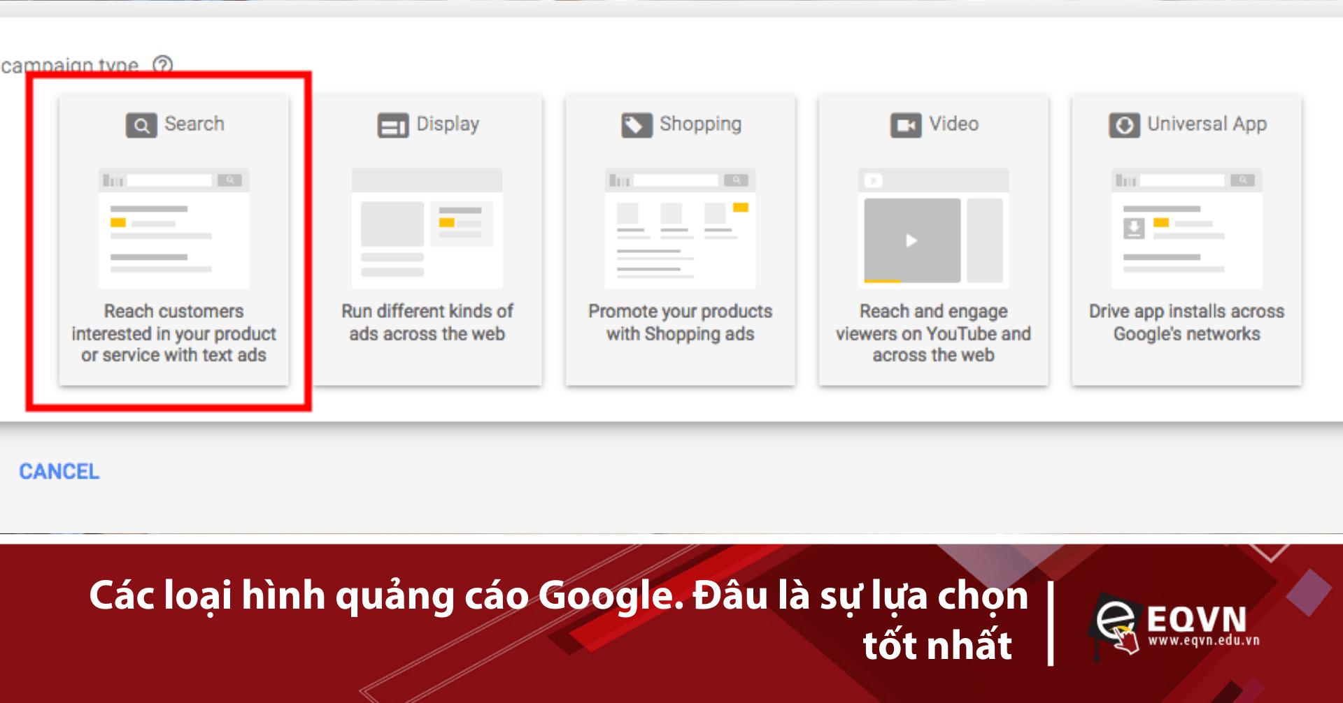Các loại quảng cáo google ads