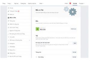 Thiết lập các chức năng trên thanh menu trên page Facebook