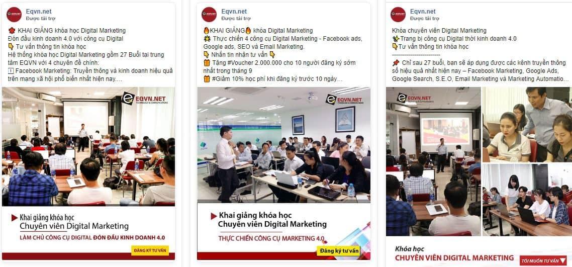 EQVN đào tạo Digital Marketing quảng cáo Facebook