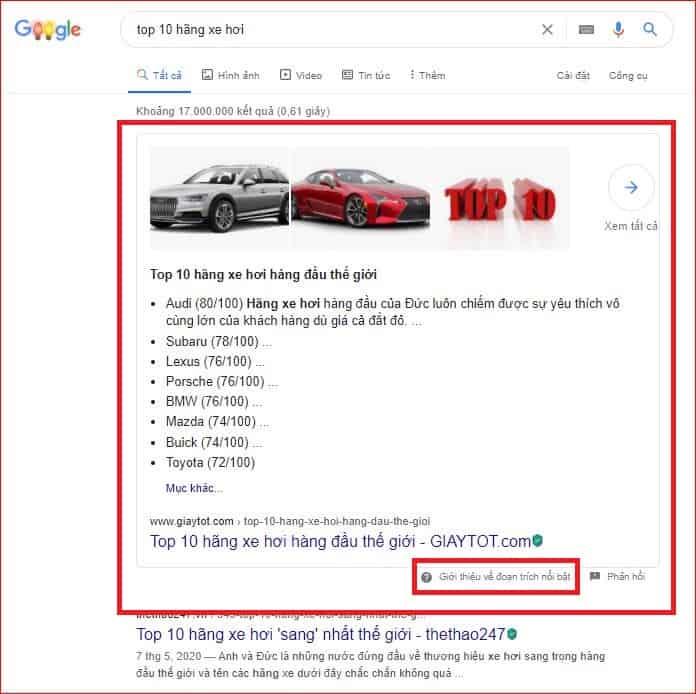 đoạn trích nổi bật google